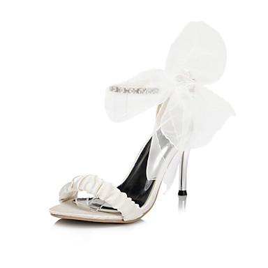 Damen-Sandalen-Hochzeit Kleid Party & Festivität-Satin-StöckelabsatzElfenbein Weiß