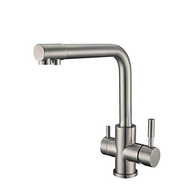 Køkken Vandhane - To Håndtag et hul Nikkel Børstet Standard Tud Basin Moderne