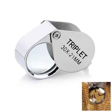 Lupas / Microscôpio Jóias / Reparação de Relógio Alta Definição / De Mão / Dobrável 30X 21mm Normal Metal