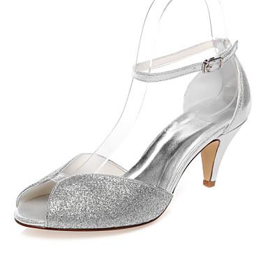 Mulheres Sapatos Couro Ecológico Primavera Verão Conforto Salto Baixo Peep Toe para Casamento Social Festas & Noite Prata