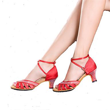 Feminino Latina Samba Glitter Salto Profissional Apresentação Pedrarias Fivela Salto Cubano Preto Vermelho Azul Champanhe Acima de 10cm