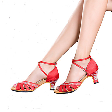 Mujer Zapatos de Baile Latino / Zapatos de Samba Brillantina Tacones Alto Pedrería / Hebilla Tacón Cubano Personalizables Zapatos de baile Rojo / Azul / Champaña / Rendimiento / Profesional