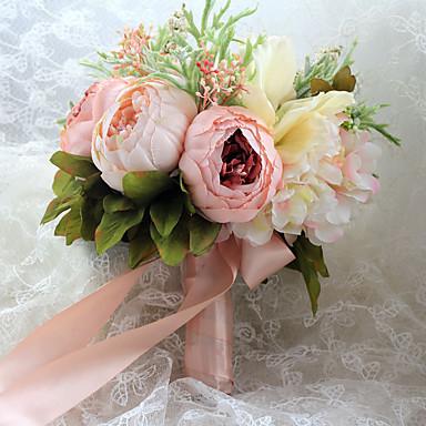 Fleurs de mariage Forme libre Roses Pivoines Bouquets Mariage Satin Env.23cm