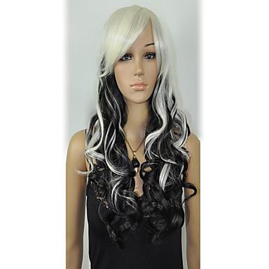 Synthetische Perücken Wellen Weiß Damen Schwarze Perücke Synthetische Haare