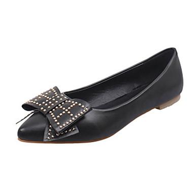 Mulheres Sapatos Couro Ecológico Verão Rasos Sem Salto Laço Preto / Cinzento