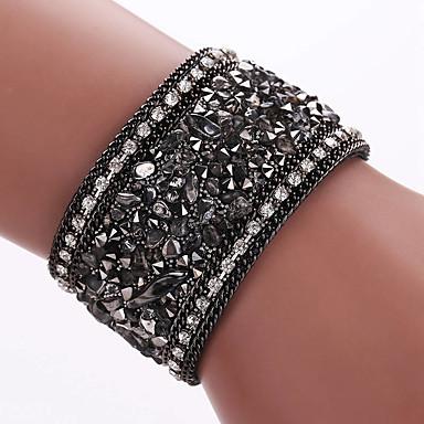 男性用 女性 ラップブレスレット レザーブレスレット 合金 レザー 模造ダイヤモンド ファッション ボヘミアスタイル 愛らしいです 幾何学形 ブラック グレー ブルー ゴールデン ブラック/グレー ジュエリー 1個