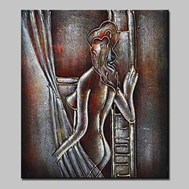 יד צבוע מודרני ציור שמן מופשט על בד ציור קיר תמונה עם מסגרת מתוח מוכן לתלות