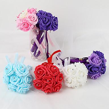 Fleurs de mariage Rond Roses Bouquets Mariage Satin Satin élastique Mousse 5.91