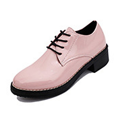 Femme Chaussures Cuir Verni Printemps Automne Confort Oxfords Talon Bottier Lacet pour Décontracté Blanc Noir Rose