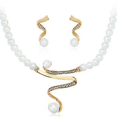 Mujer Perla Conjunto de joyas - Perla Artificial Moda, Elegante, Nupcial Incluir Pendientes colgantes / Collar / pendientes / Collar con perlas Blanco Para Boda / Fiesta / Aniversario / Collare
