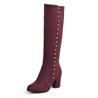 Kadın Ayakkabı Yapay Deri Kış Sonbahar Kalın Topuk Diz Boyu Çizmeler Günlük için Siyah Mavi Kırmızı Şarap