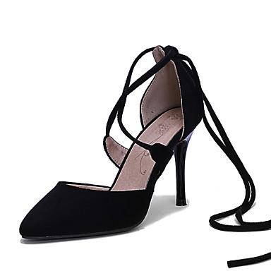 Femme Chaussures Laine synthétique Printemps Eté Automne Hiver Talon Aiguille Creuse Lacet Pour Habillé Soirée & Evénement Noir Rouge