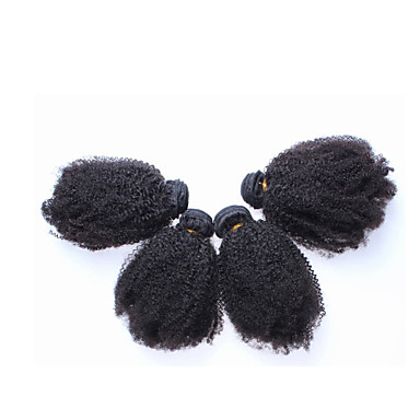 baratos Extensões de Cabelo Natural-Cabelo Brasileiro Kinky Curly Cabelo Humano Cabelo Humano Ondulado Tramas de cabelo humano Extensões de cabelo humano / Crespo Cacheado