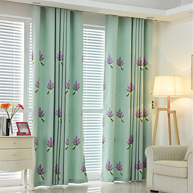 Deux Panneaux Rustique / Moderne / Néoclassique / Méditerranéen / Européen Floral / Botanique Bleu / Vert / Rose / Cyan Chambre à coucher