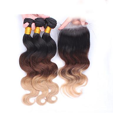 Europeisk hår Krop Bølge 8A Ekte hår Nyanse Nyanse Hårvever med menneskehår Hairextensions med menneskehår Dame