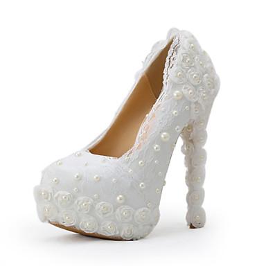 Hvit-Bryllup sko-Dame-Hæler-høye hæler-Bryllup / Formell / Fest/aften