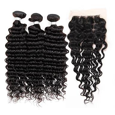 3 Bundles mit Verschluss Brasilianisches Haar Wogende Wellen Unbehandeltes Haar Haar-Einschlagfaden mit Verschluss 10-24 Zoll Menschliches Haar Webarten 4x13 Closure Schlussverkauf Haarverlängerungen
