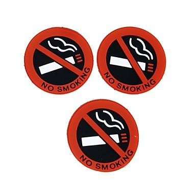 ziqiao 3 stk auto varm bil styling ingen røyker logo advarsel signere klistremerker gummi latex 3d klistremerker