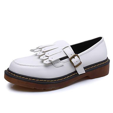 Feminino Sapatos Courino Outono Conforto Rasos Salto Baixo Mocassim Para Casual Branco Preto Amarelo
