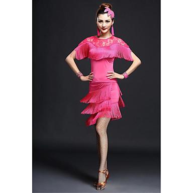 Latein-Tanz Kleider Damen Leistung Milchfieber Spitze / Quaste Kurze Ärmel Hoch Kleid / Tanga / Latintanz