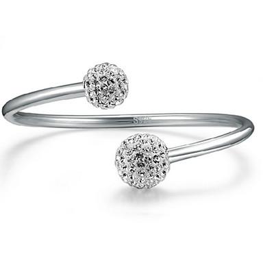 Damen Kristall Armreife / Manschetten-Armbänder - Sterling Silber Kugel Grundlegend, Modisch Armbänder Silber Für Party / Jahrestag / Geburtstag