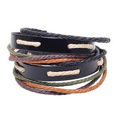 Femme Bracelets en cuir Mode Bohême Cuir Forme de Cercle Marron Bijoux Pour Quotidien Décontracté 1pc