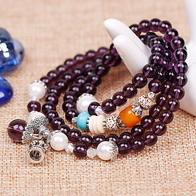נשים צמידי Strand סגנון בוהמיה אופנתי קריסטל אקרילי אבן יקרה תכשיטים סגול אדום ורוד תכשיטים ל יומי קזו'אל 1pc