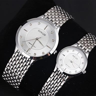Casal Relógio Elegante Relógio Casual Quartzo Quartzo Japonês Relógio Casual Aço Inoxidável Banda Prata
