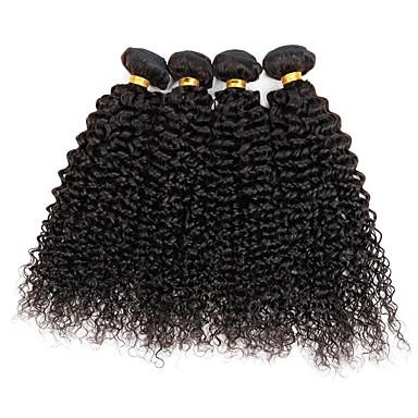 טווה שיער אדם שיער פרואני Kinky Curly 4 חלקים שוזרת שיער