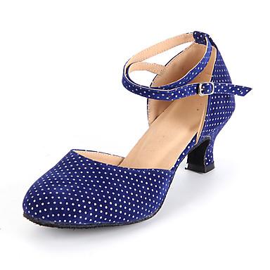 בגדי ריקוד נשים נעליים מודרניות סוויד עקבים אבזם / פתחים עקב מותאם מותאם אישית נעלי ריקוד כחול כהה / פוקסיה / מוזהב / בבית / אימון