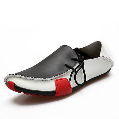 Herren Schuhe Kunststoff Frühling Herbst Leuchtende Sohlen Loafers & Slip-Ons Walking Metall Zehen Für Normal Weiß Grau Braun