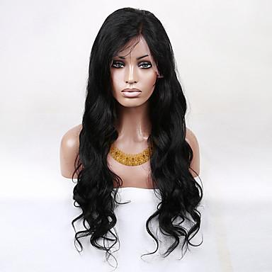 Kvinder Blondeparykker med menneskehår Ekte hår Blonde Forside Halvblonder uten lim 130% tetthet Krop Bølge Parykk Jet Svart Svart