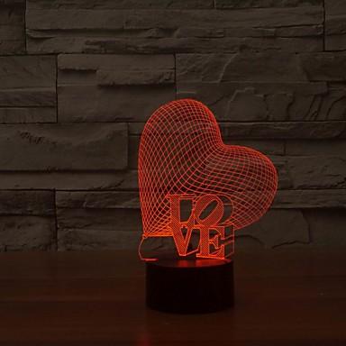 אהבה יפה מנורת לילה מלא צורת מגע 3D LED כמתנה