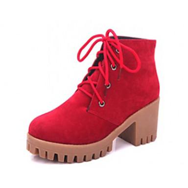 Dames Laarzen Modieuze laarzen Fleece Winter Causaal Modieuze laarzen Veters Blokhak Blok hiel Zwart Grijs Bruin Bordeaux 5 - 7 cm