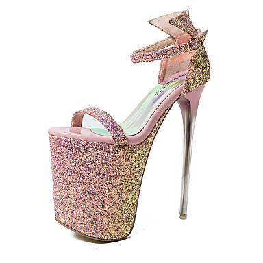 Damen Schuhe Glanz Sommer Stöckelabsatz Schnalle für Party & Festivität Silber Rosa