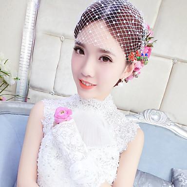 Damen Tüll Perle Netz Kopfschmuck-Hochzeit Netzschleier 1 Stück