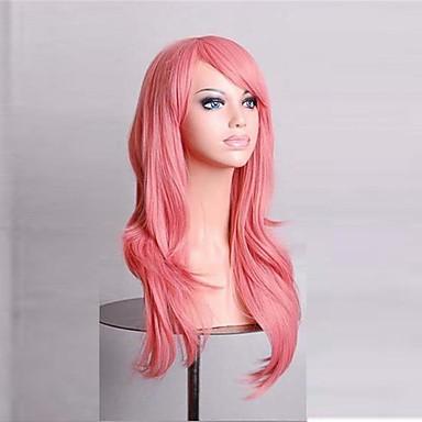 Szintetikus haj paróka Hullámos Sapka nélküli Pink