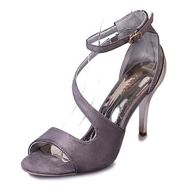 Feminino Sapatos Courino Verão Salto Agulha Vazados para Casual Festas & Noite Preto Bege Cinzento