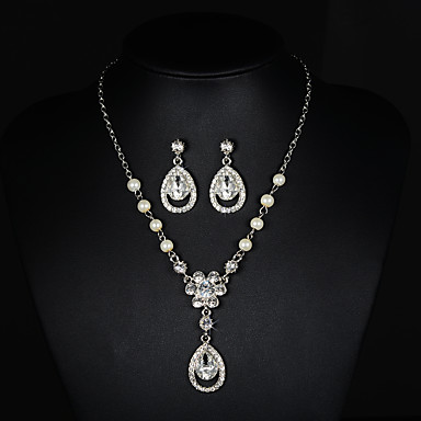 Mujer Cristal / Perla artificial Conjunto de joyas - Otros Plateado