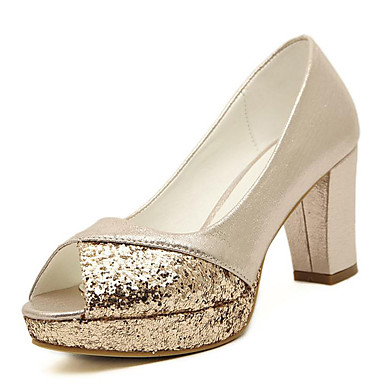 Damen-Sandalen-Hochzeit / Kleid / Lässig / Party & Festivität-Kunststoff-Blockabsatz-Zehenfrei-Silber / Gold