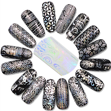 1 pcs גליטרים / פרח / קלסי מסמר תכשיטים / קצוות ציפורן מלאה מסמר אמנות עיצוב חמוד יומי / סרט מצוייר / Glitter & Sparkle
