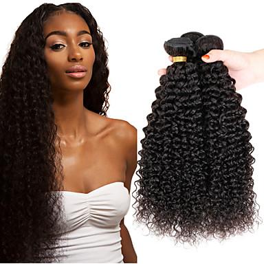 baratos Extensões de Cabelo Natural-3 pacotes Cabelo Indiano Afro Kinky Curly 10A Cabelo Virgem Cabelo Humano Ondulado 8-26 polegada Tramas de cabelo humano Derramamento livre Emaranhado livre Fim do cabelo grosso Extensões de cabelo