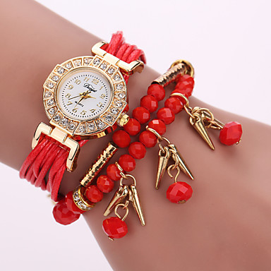 Damen Uhr Armband-Uhr Armbanduhr Uhr wickeln Quartz Leder Schwarz / Weiß / Blau Schlussverkauf / Analog damas Blume Böhmische Modisch Grau Rot Marineblau / Ein Jahr / Ein Jahr / Tianqiu 377
