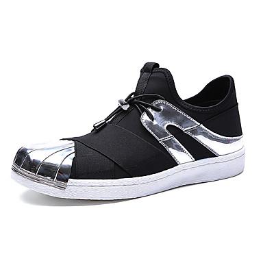 Sneakers-Tyl-Komfort-Herre-Sort Sølv Guld-Fritid-Flad hæl