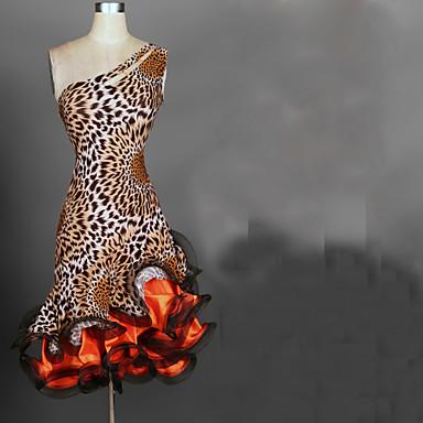 ラテンダンス ドレス 女性用 性能 スパンデックス / シフォンサテン ラッフル ノースリーブ ハイウエスト ドレス