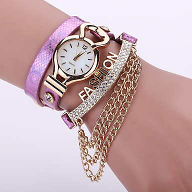 Damen Armband-Uhr Armbanduhr Quartz Schlussverkauf / Leder Band Analog Blume Böhmische Modisch Schwarz / Weiß / Blau - Silber Purpur Rot