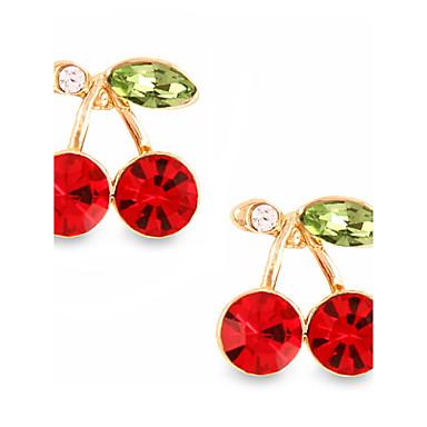 personalidade dupla para fora de cerejeira vermelho rubi brincos estilo elegante