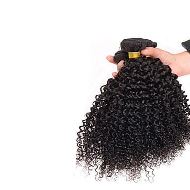 baratos Extensões de Cabelo Natural-3 pacotes Cabelo Mongol Encaracolado Afro Weave Curly 8A Cabelo Humano Cabelo Humano Ondulado Tramas de cabelo humano Extensões de cabelo humano / Crespo Cacheado