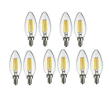 billige Elpærer-10pcs 4 W LED-glødepærer 360 lm E14 C35 4 LED perler COB Dekorativ Varm hvit Kjølig hvit 220-240 V / 10 stk. / RoHs