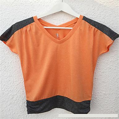 Damen Laufen T-shirt Atmungsaktiv Rasche Trocknung Schweißableitend Sportbekleidung Laufen Blau Purpur Orange Wasserblau Patchwork